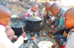 The middle kids are cooking papa and moroho in cans they got out of the trash heap.